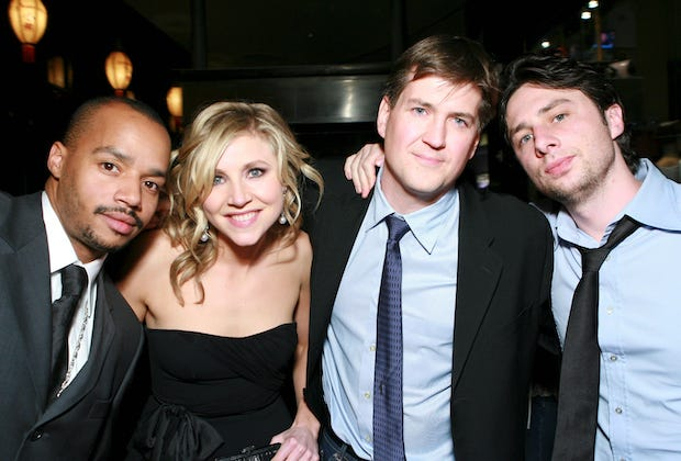 Donald Faison, Sarah Chalke, Bill Lawrence & Zach Braff
