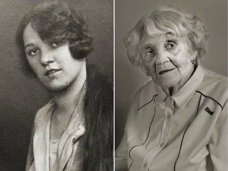 photo of a person as a young woman and as a centenarian