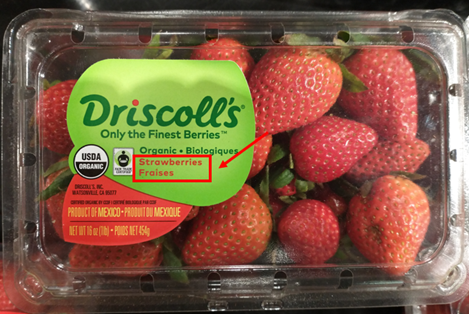 carton of strawberries, labeled in both english and french