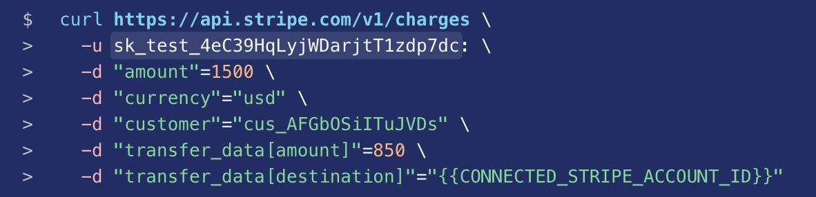 Sample code from Stripe developer documentation