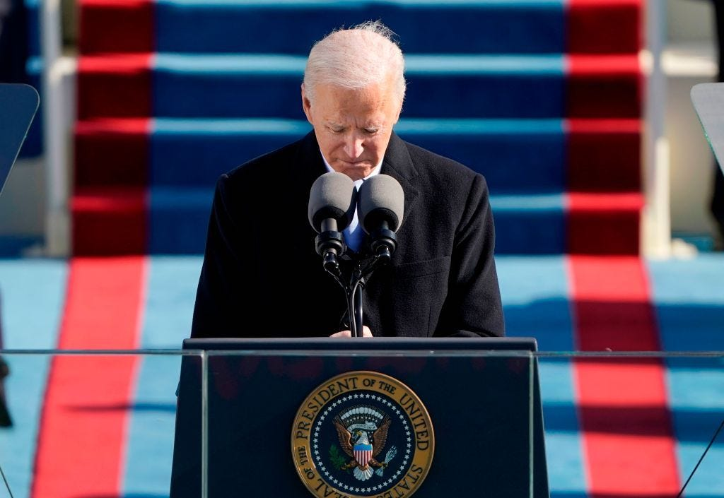 President Joe Biden delivers his inauguration speech Wednesday at the US Capitol. (Patrick Semansky / AFP)