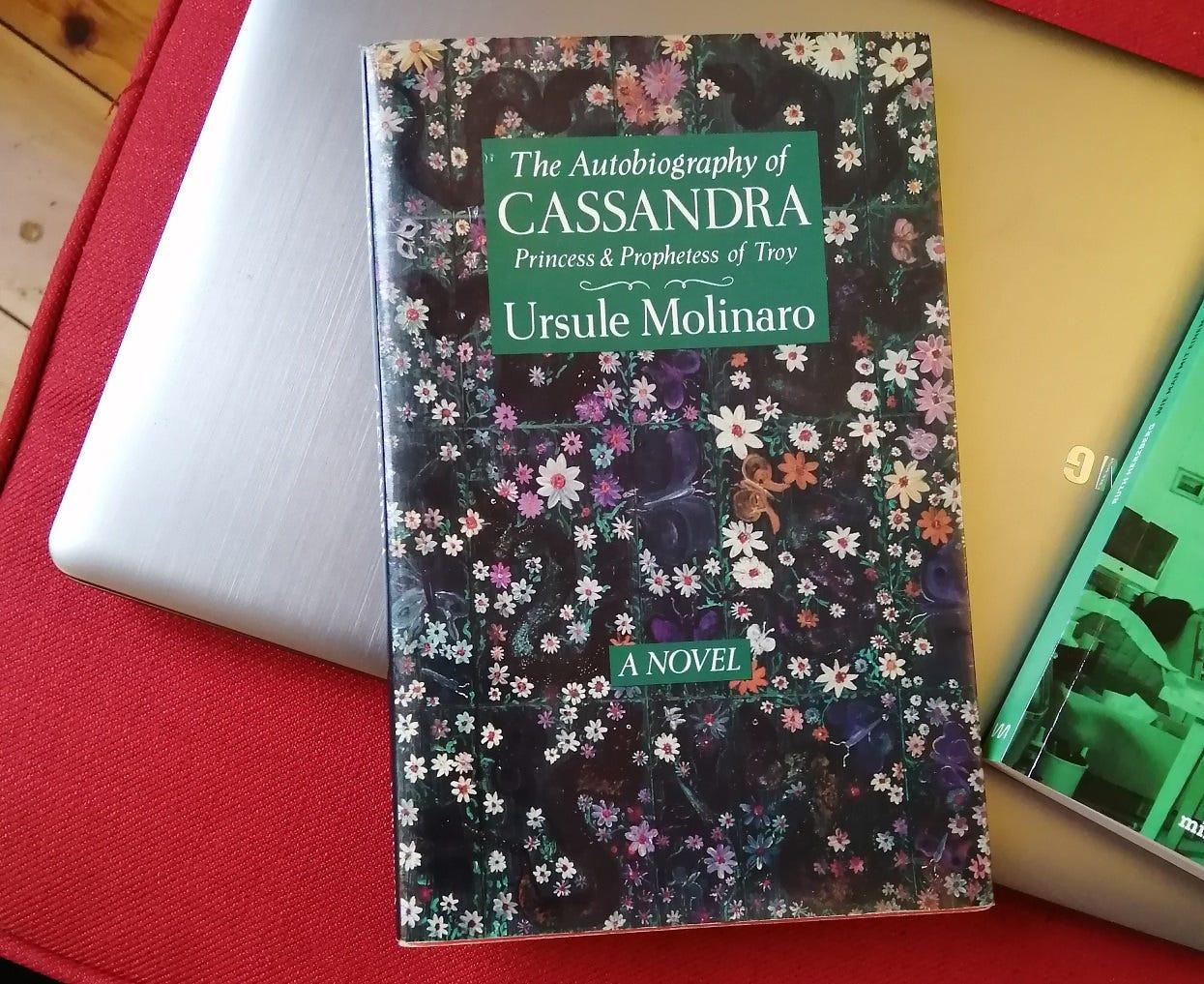 """Das Buch """"The Autobiography of Cassandra"""" von ursule Molinaro. Das Cover zeigt ein buntes Blumenmuster, darauf ein grünes Rechteck im oberen Teil, in dem in weißer Schrift der Titel und der Autorinnenname stehen."""