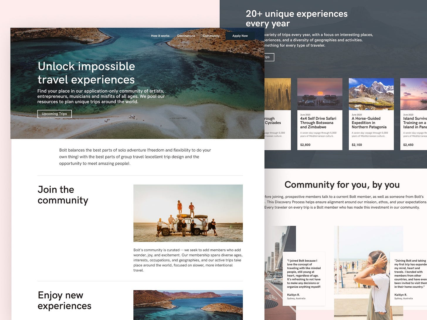 Bolt Travel Homepage webflow experiences photogrpahy nocode webdesign adventure landing homepage trips travel