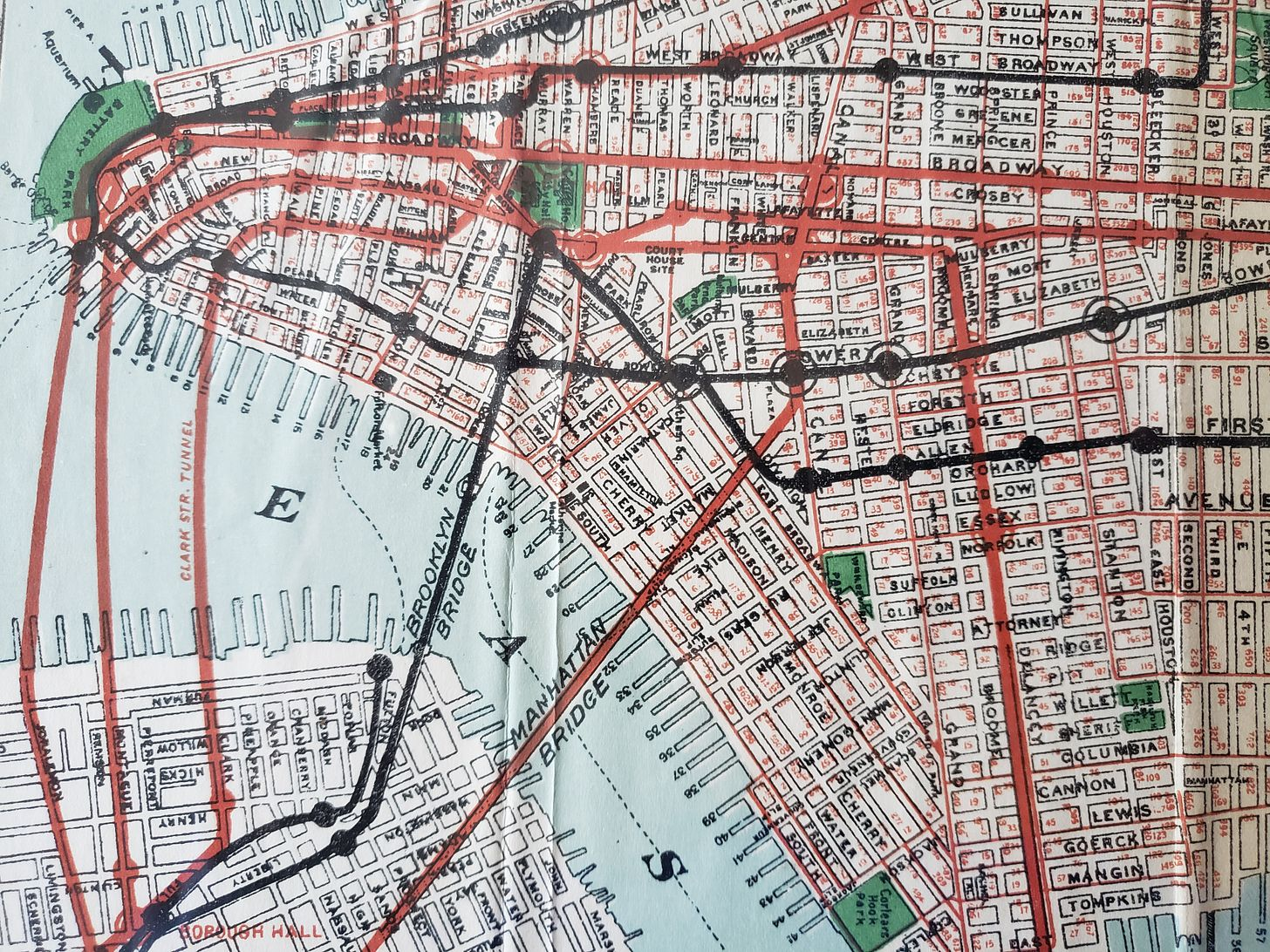 Close up of map of southern Manhattan and a portion of Brooklyn