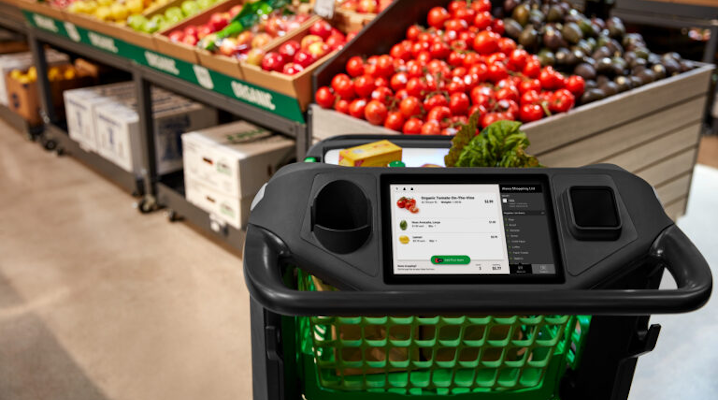 Amazon's grocery cart in their first full-sized cashierless store