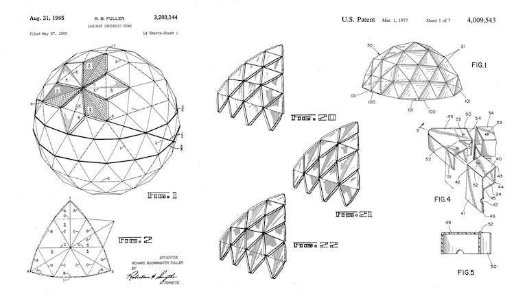 Image of Buckminster Fuller's patent design of the Geodesic Dome