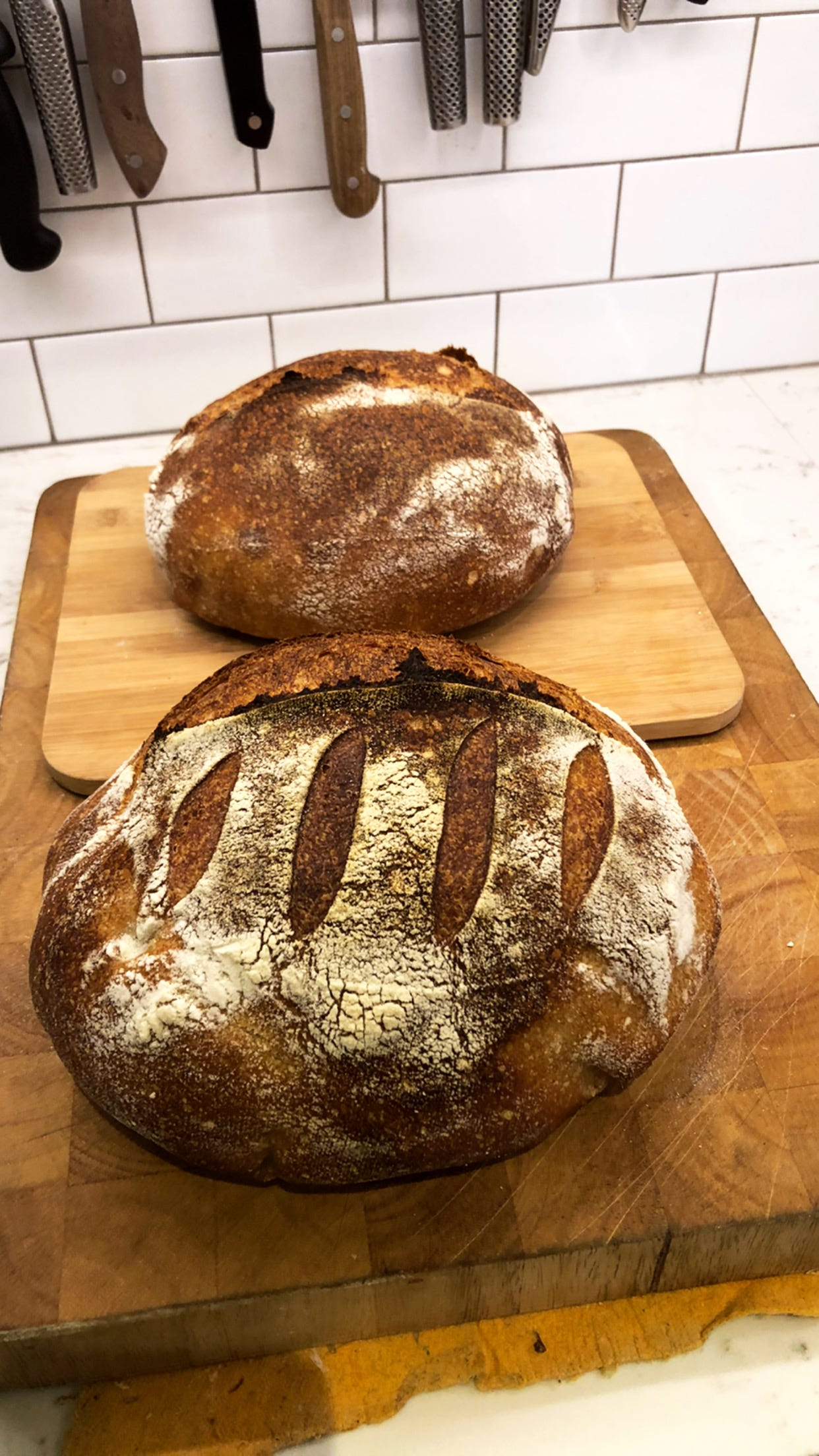Two loaves of sourdough bread I baked