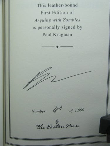 1st, signed by author, Arguing with Zombies... by Paul Krugman, Easton Press    eBay
