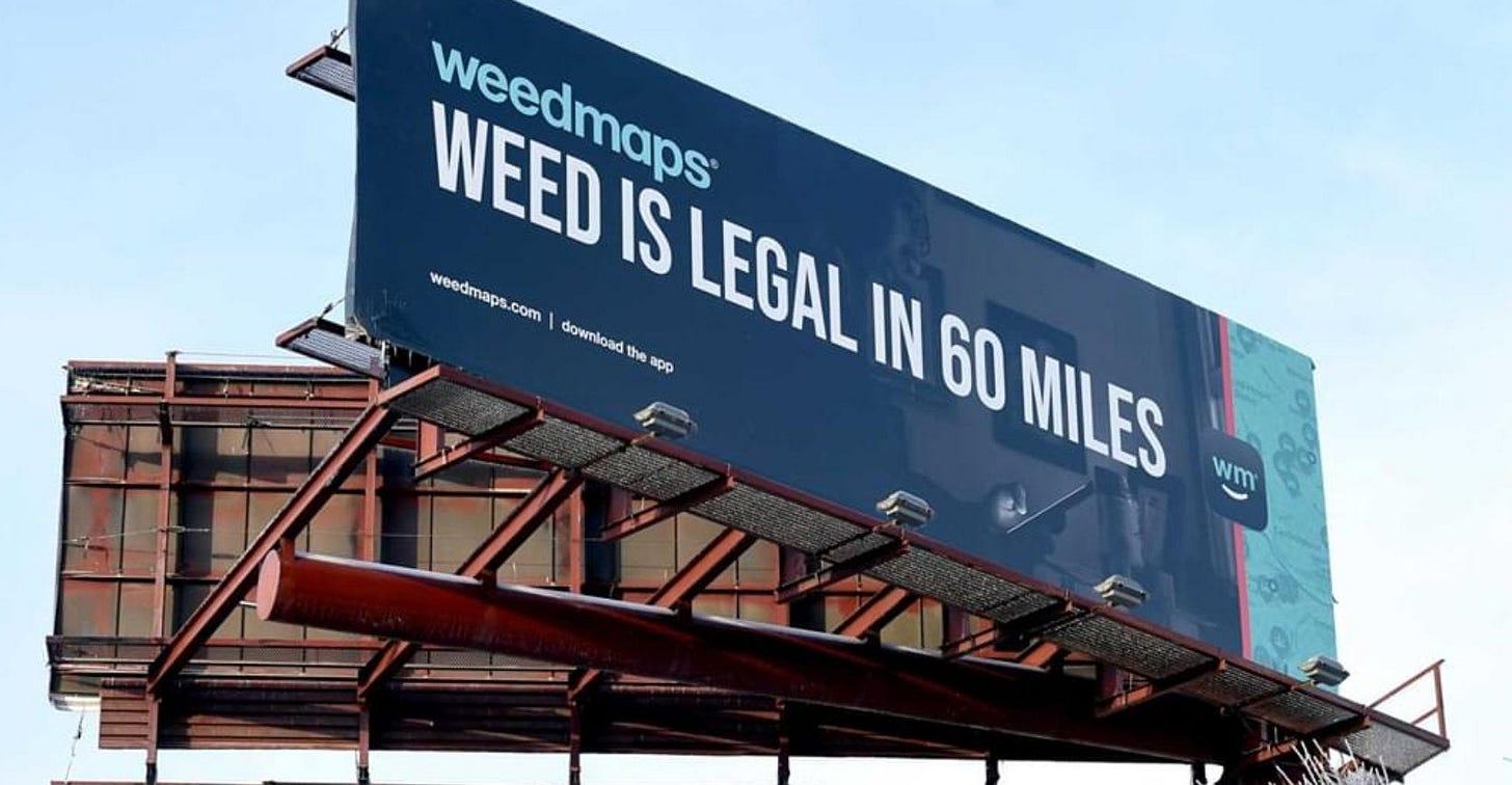 Pretty funny @Weedmaps Billboard on I-91 : bostontrees