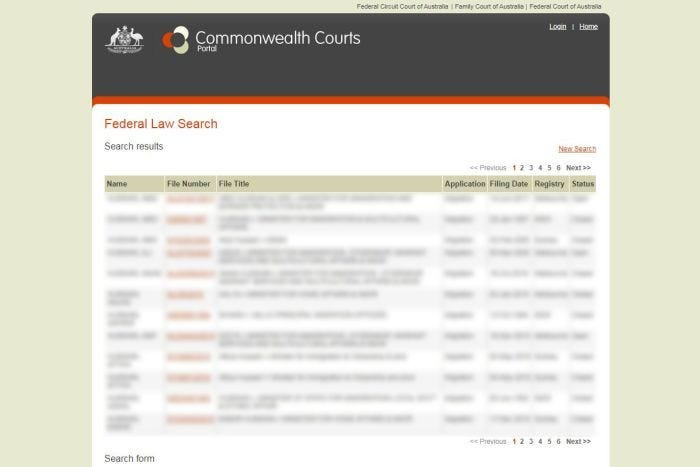 Screenshot of the Commonwealth Courts portal website with details blurred