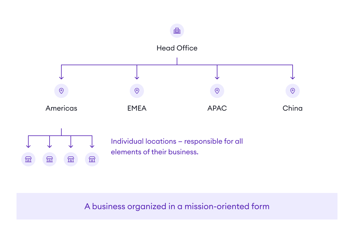 A mission-oriented organization is one where each unit pursues its mission with limited tie-in to other units