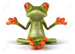 Cartoon Frog In Meditating Pose Stock Photo, Picture And Royalty Free  Image. Image 80224543.