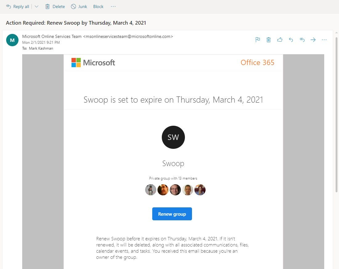Microsoft 365 Groups expiration email used to renew a group based on pre-defined IT policies.