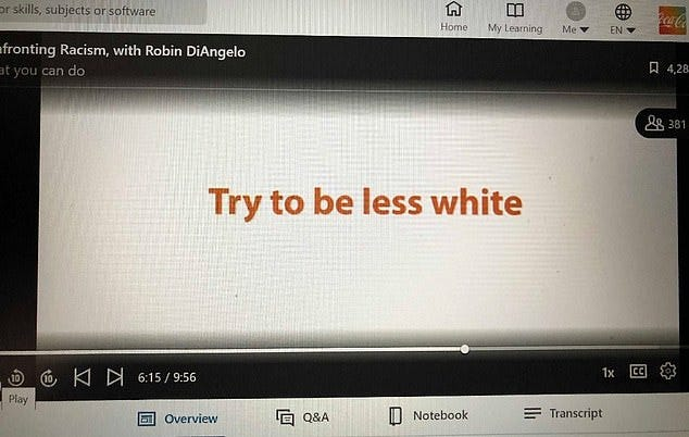 Coca-Cola is accused of reverse racism for sharing a video encourages  employees to be 'less white'   Daily Mail Online