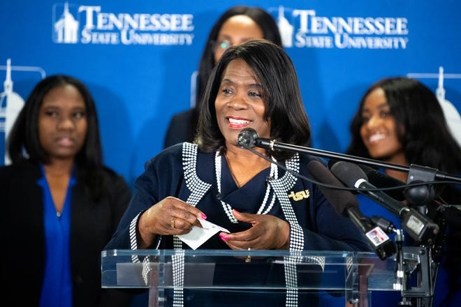 """Tennessee State University President Glenda Glover holds a check donation for their """"$1 Million in 1 Month"""" campaign at TSU Thursday, Jan. 30, 2020, in Nashville, Tenn."""