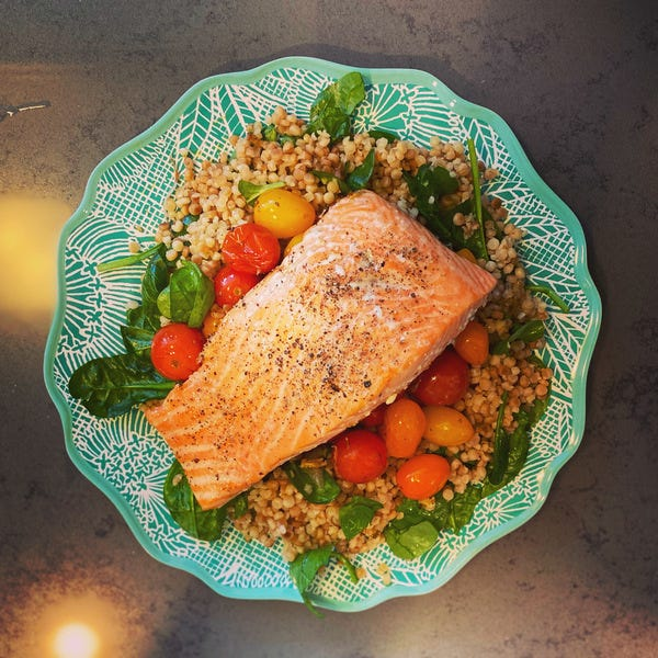 Kitchen Adventures: Salmon x Roasted Tomatoes & Shallots x Israeli couscous