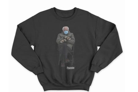 Bernie Sanders Turned His Inauguration Meme Into a Sweatshirt for Charity