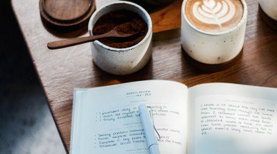 Weekly planner with cappuccino