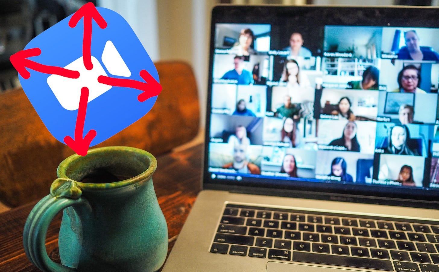 Imagem de um computador na mesa com a tela em uma reunião online + logo da ferramenta Zoom escaper