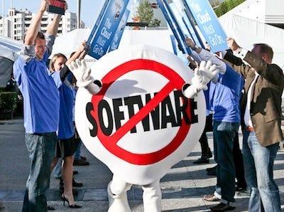 Salesforce logo fake picket