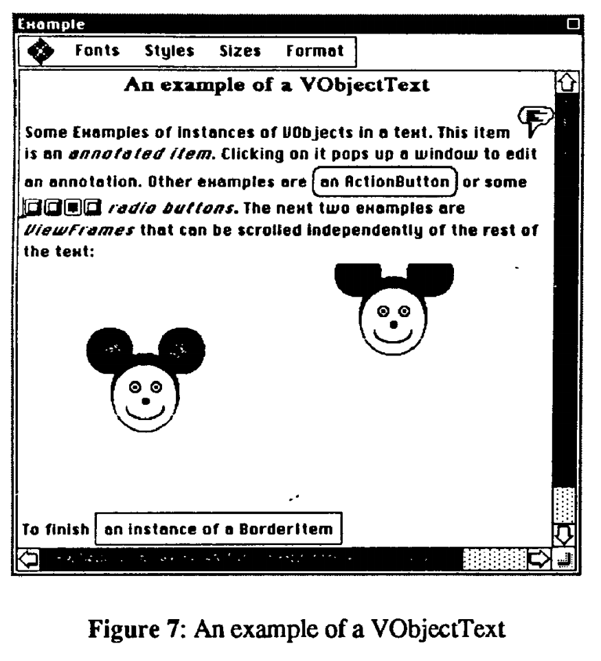 An example screen of ET++ running on Unix showing some text and some basic drawings along with menus.