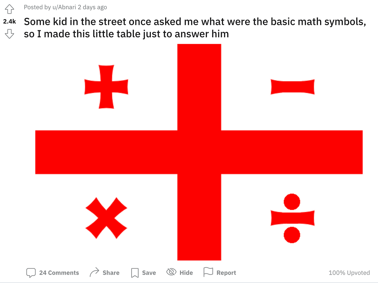 """A Reddit post reading """"Some kid in the street once asked me what were the basic math symbols, so I made this little table just to answer him"""" with a graphic that looks like the national flag of Georgia but the four quadrant symbols are plus, minus, times and divide."""