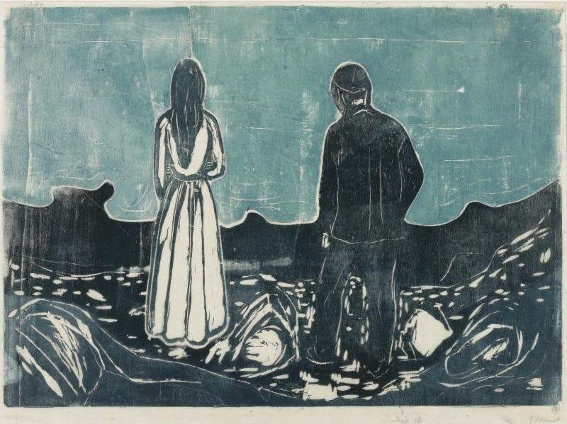 Edvard Munch, Two Human Beings, the Lonely Ones. Woodcut, 1899 |  Kunstideer, Kunstner, Malerier ideer