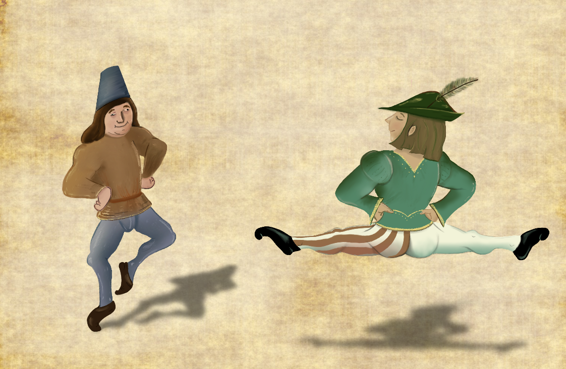 medieval men dancing in dandy pants