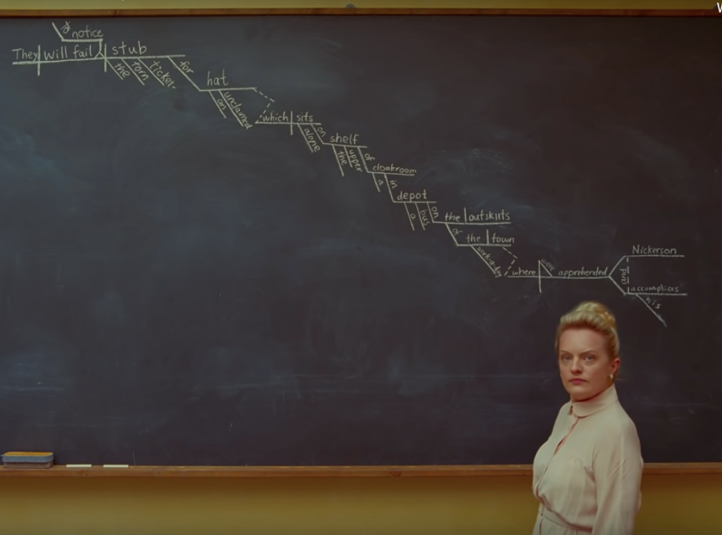 Elisabeth Moss standing in front of a blackboard with a diagrammed sentence.