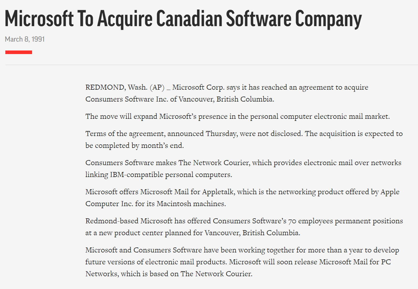 Microsoft to acquire Canadian Software Company - Network Courier