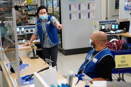 "SUPERSTORE -- ""California Pt 2"" Episode 602 -- Pictured: (l-r) Ben Feldman as Jonah, Colton Dunn as Garrett -- (Photo by: Greg Gayne/NBC)"