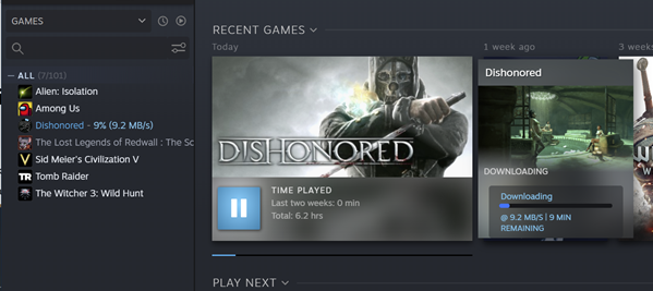 Steam dashboard on download