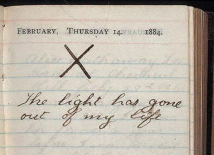 r/Damnthatsinteresting - A page from Teddy Roosevelt's diary. It was the day his mother and wife both died in 1884.