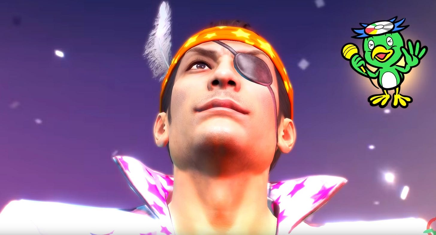Majima, wearing a headband, looking up with a big goofy smile on his face.