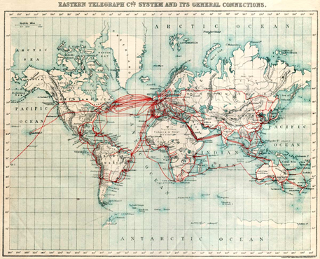 A map of the extensive Imperial British telegraph network from 1901.