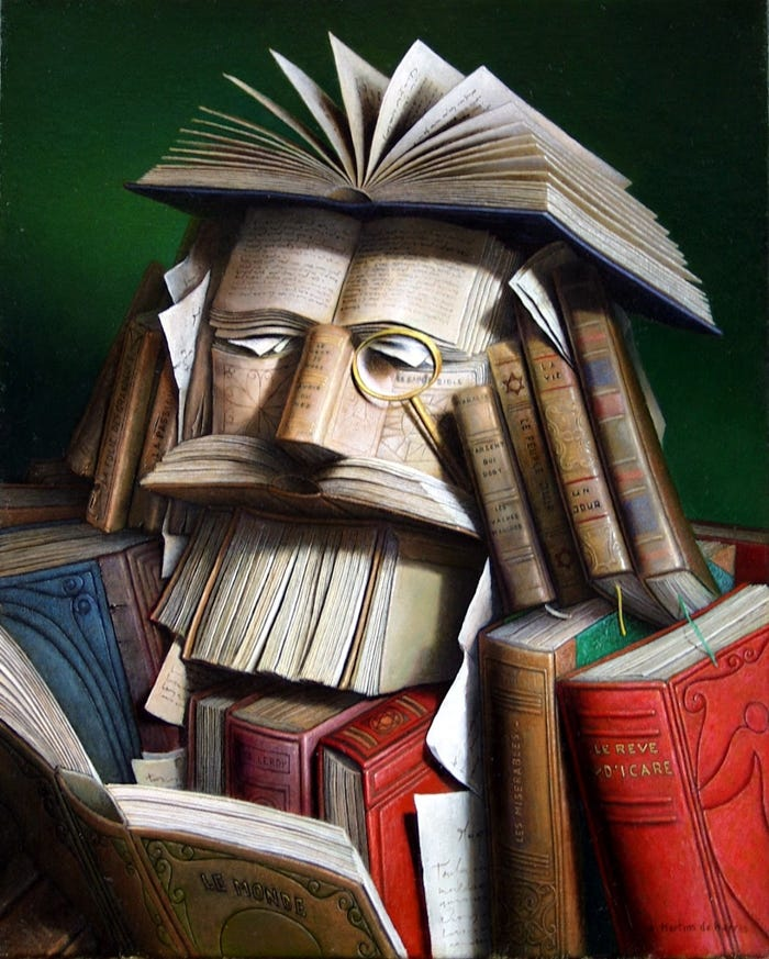 beautiful paintings about books