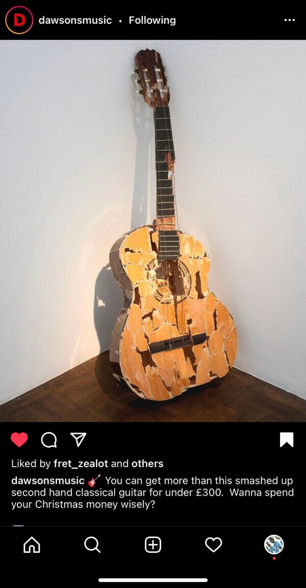 Smashed guitar