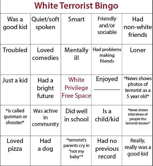 white terrorist bingo card