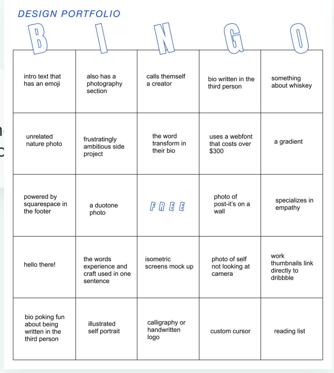 Design portfolio Bingo card