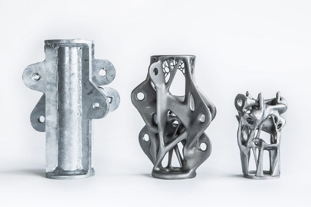 The image graphically illustrates how 3D printing – more accurately known as additive manufacturing – can enhance the design and production process to the point that the weight and resulting cost of future construction materials could be reduced significantly.