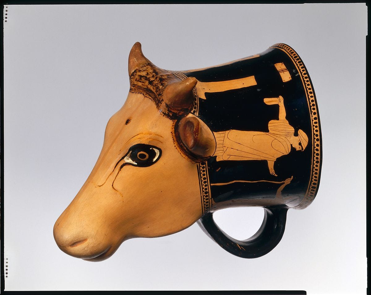 Terracotta rhyton (vase for libations or drinking), Attributed to the Cow-Head Group, Terracotta, Greek, Attic