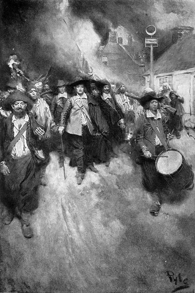 Men marching through burning city