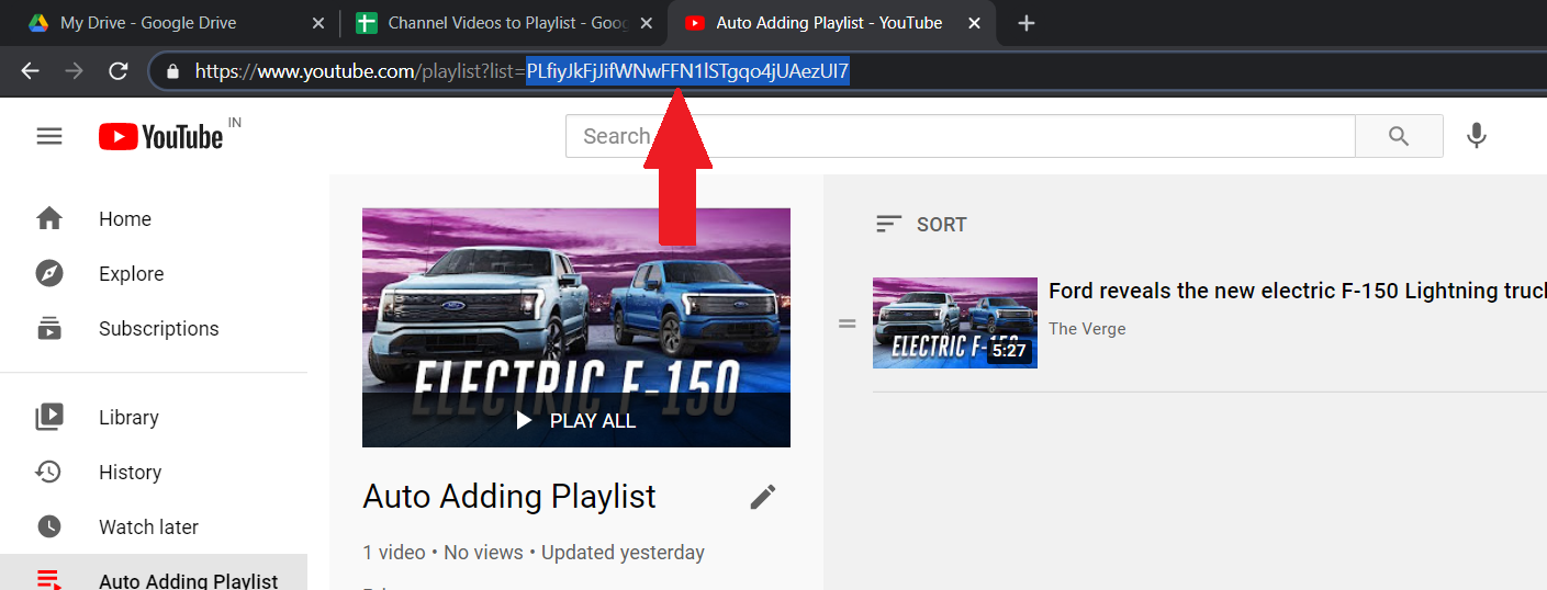 Indicating YouTube Playlist ID