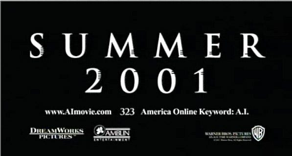 """Still from the last frames of the A.I. trailer, featuring the words """"SUMMER 2001"""" with varying numbers of small notches in the sides of each letter."""