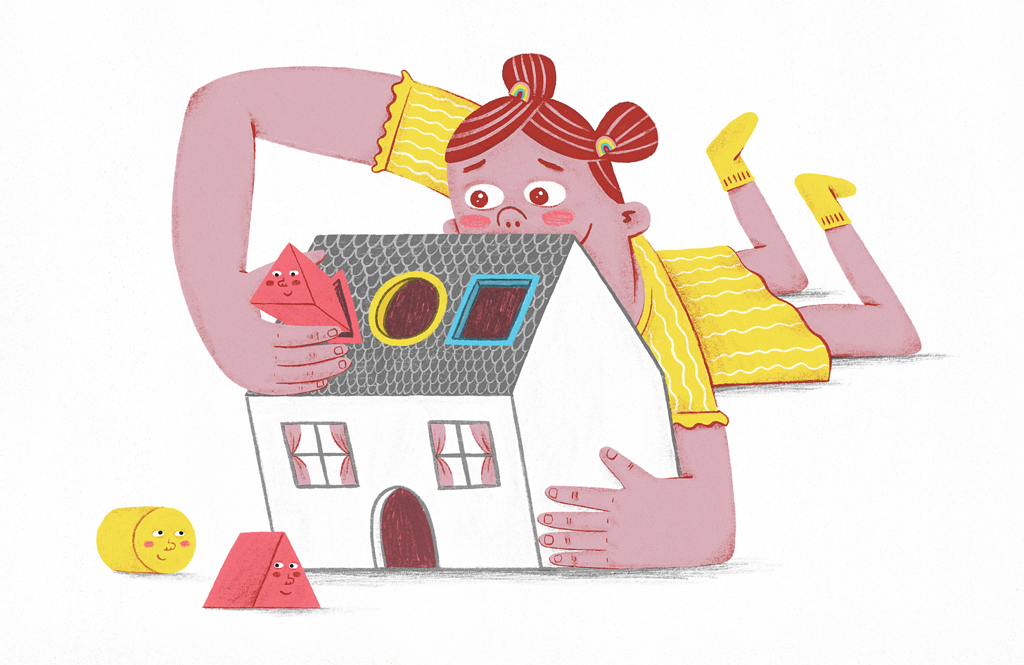 A young girl plays with a toy house, trying to fit shapes inside it. Two pink triangle shapes are in the picture, one in her hand, and one on the floor.