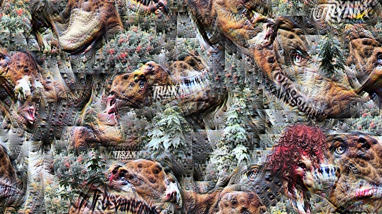 There are some brown shapes that might be tyrannosaurus heads, definitely far too many baleful eyes, and maybe some foliage. Not sure what the swaths of lumpy red are. There's illegible writing everywhere.
