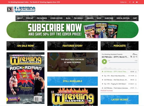Screenshot of the new PWI website, August 2021