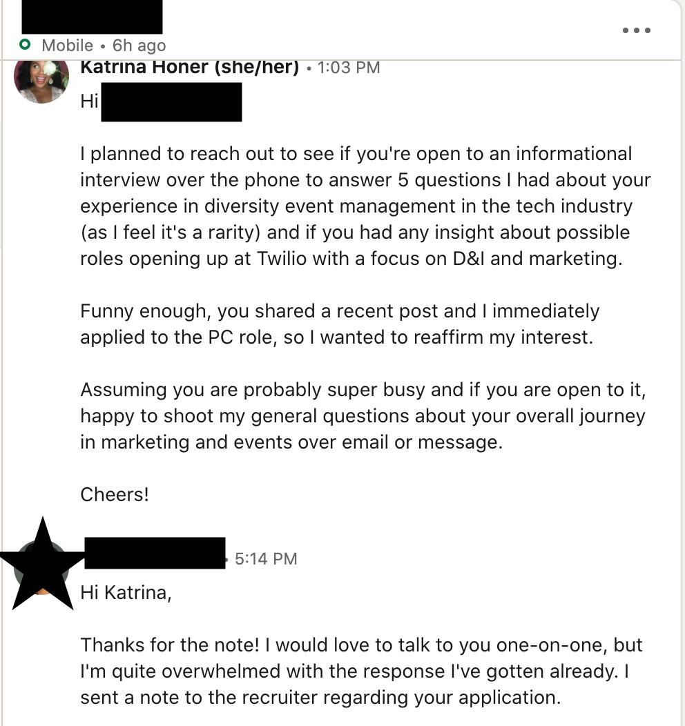 Second Linkedin outreach message
