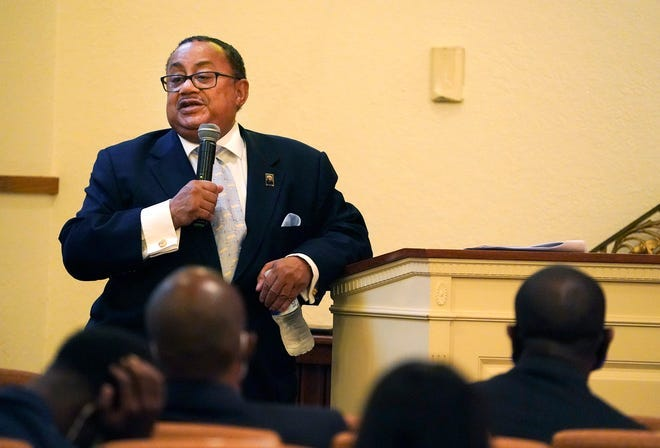 Bethune-Cookman University Board Chair Belvin Perry Jr. holds a town hall meeting regarding the status on the university, Friday, April 9, 2021.