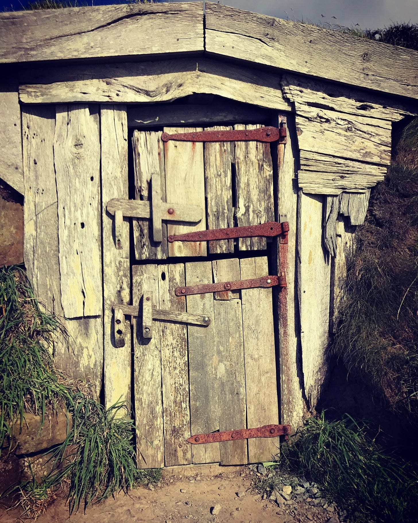 A ramshackle hut with a stable door, made of driftwood